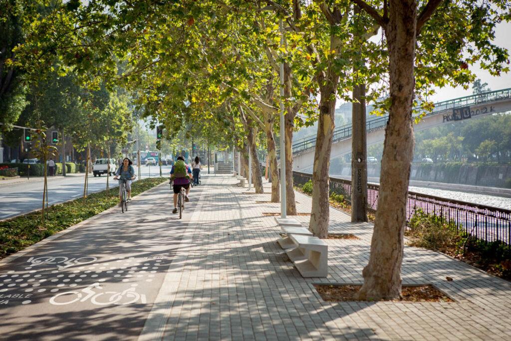 Rutas para andar en bicicleta en Santiago